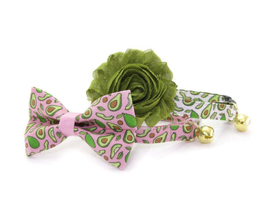 "Cat Bow Tie - ""Avocado Baby - Pink"" Bowtie / For Cats + Small Dogs / Removable (One Size)"