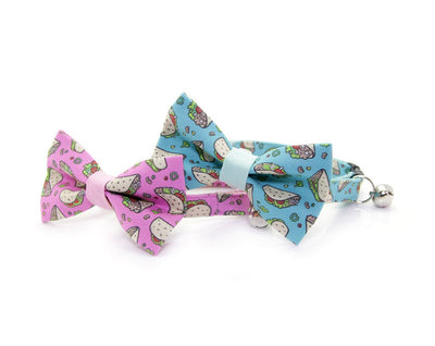 "Cat Bow Tie - ""Taco Party - Aqua"" Bowtie / For Cats + Small Dogs / Removable (One Size)"