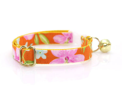 "Cat Collar + Flower Set - ""Lanai"" - Tropical Hawaiian Orange Cat Collar w/ ""Baby Pink"" Flower (Detachable)"