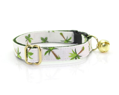 "Bow Tie Cat Collar Set - ""Palm Trees - Ivory"" - Tropical Cat Collar w/ Matching Bow Tie (Removable)"