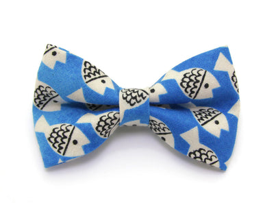 "Bow Tie Cat Collar Set - ""Under the Sea"" - Blue Fish Cat Collar w/ Matching Bow Tie (Removable)"