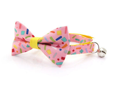 "Cat Collar - ""Confetti Sprinkles"" - Pink Cat Collar - Breakaway Buckle or Non-Breakaway / Cat, Kitten + Small Dog Sizes"