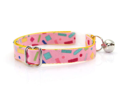 "Cat Collar + Flower Set - ""Confetti Sprinkles"" - Pink Cat Collar w/ ""Mint"" Flower (Detachable)"