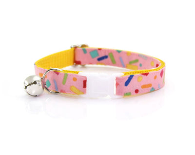 "Cat Collar + Flower Set - ""Confetti Sprinkles"" - Pink Cat Collar w/ ""Fuchsia"" Flower (Detachable)"