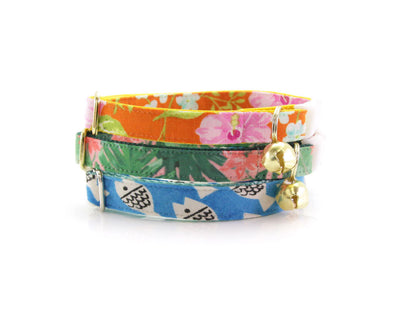 "Cat Collar + Flower Set - ""Tropic Paradise"" - Monstera & Palm Leaf Cat Collar w/ ""Coral Pink"" Flower (Detachable)"