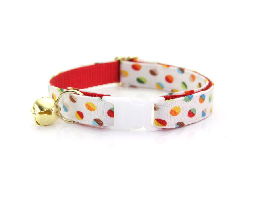"Cat Collar + Flower Set - ""Rainbow Dots"" - Party Cat Collar w/ ""Red Polka Dot"" Flower (Detachable)"
