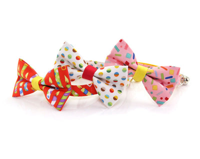 "Bow Tie Cat Collar Set - ""Birthday Candles"" - Red Cat Collar w/Matching Bow Tie (Removable)"