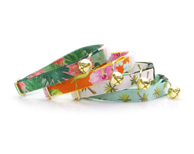 "Tropical Cat Collar - ""Lanai"" - Hawaiian Orange Hibiscus Cat Collar - Breakaway Buckle or Non-Breakaway / Cat, Kitten + Small Dog Sizes"
