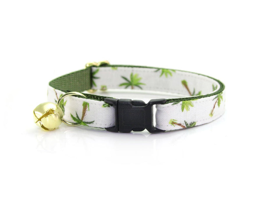 "Tropical Cat Collar - ""Palm Trees - Ivory"" - Breakaway Buckle or Non-Breakaway / Cat, Kitten + Small Dog Sizes"