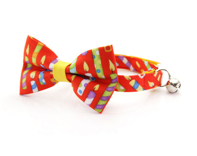 "Cat Collar - ""Birthday Candles"" - Red Cat Collar - Breakaway Buckle or Non-Breakaway / Cat, Kitten + Small Dog Sizes"