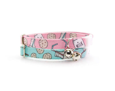 "Cat Collar - ""Cookies and Milk - Pink"" - Breakaway Buckle or Non-Breakaway / Cat, Kitten + Small Dog Sizes"