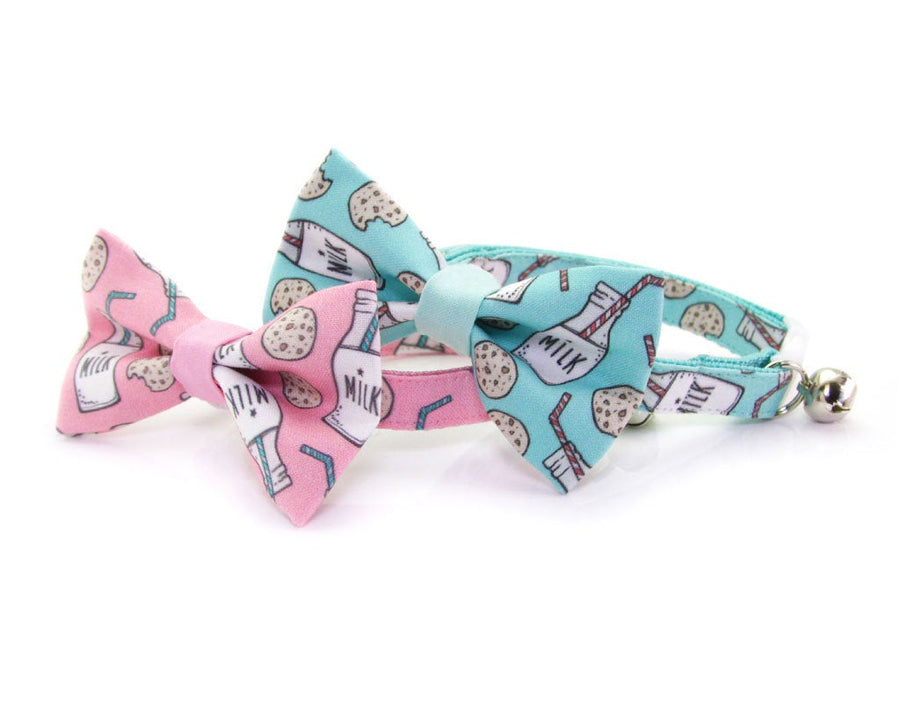 "Cat Bow Tie - ""Cookies and Milk - Pink"" - Food Bowtie / For Cats + Small Dogs / Removable (One Size)"
