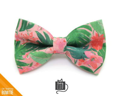 "Cat Bow Tie - ""Tropic Paradise"" - Palm Leaf Bowtie / For Cats + Small Dogs / Removable (One Size)"