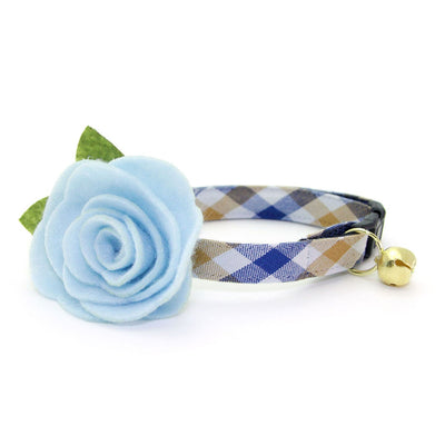 "Cat Collar + Flower Set - ""Butterscotch Blue"" - Plaid Cat Collar w/ Sky Blue Felt Flower (Detachable)"