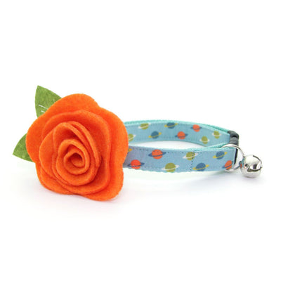 "Cat Collar + Flower Set - ""Orbital"" - Saturn Rings / Aqua Blue Space Cat Collar w/ Orange Felt Flower (Detachable)"