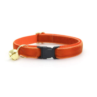 "Velvet Cat Collar + Flower Set - ""Roasted Pumpkin"" - Burnt Orange Velvet Cat Collar w/ Pumpkin Felt Flower (Detachable)"