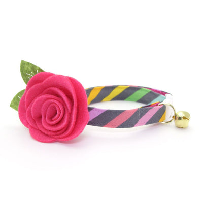 "Cat Collar + Flower Set - ""Rainbow Sorbet"" - 80s Retro / Pastel Stripe Cat Collar w/ Fuchsia Felt Flower"