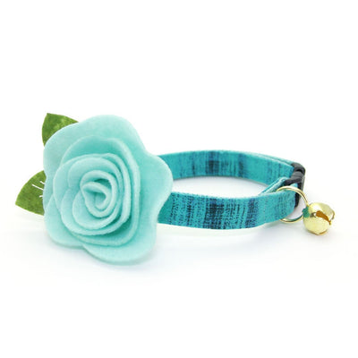 "Cat Collar + Flower Set - ""Vintage Haze - Turquoise"" - Vibrant Teal Textured Solid Cat Collar w/ Mint Felt Flower (Detachable)"