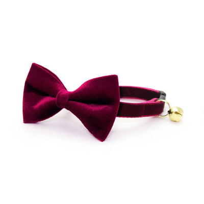"Velvet Bow Tie Cat Collar Set - ""Merlot"" - Wine Velvet Cat Collar w/ Matching Bowtie (Removable) / Wedding"