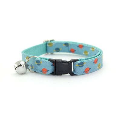 "Bow Tie Cat Collar Set - ""Orbital"" - Saturn Rings / Aqua Blue Space Cat Collar w/ Matching Bowtie (Removable)"