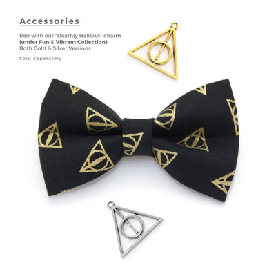 "Bow Tie Cat Collar Set - ""Deathly Hallows"" - Harry Potter-Inspired Cat Collar w/ Matching Bowtie (Removable)"