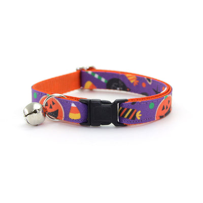 "Bow Tie Cat Collar Set - ""Witch's Brew"" - Halloween Cat Collar w/ Matching Bowtie (Removable)"