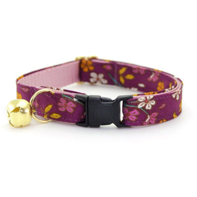 "Floral Cat Collar - ""Spiced Plum"" - Wine Purple Collar - Breakaway Buckle or Non-Breakaway / Cat, Kitten + Small Dog Sizes"