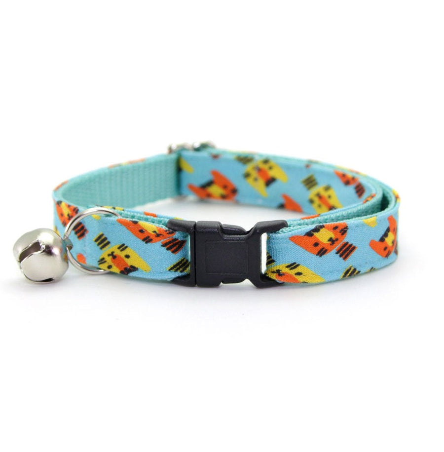 "Cat Collar - ""Cat's Meow - Aqua"" - Minty Blue Cat Collar - Breakaway Buckle or Non-Breakaway / Cat, Kitten + Small Dog Sizes"