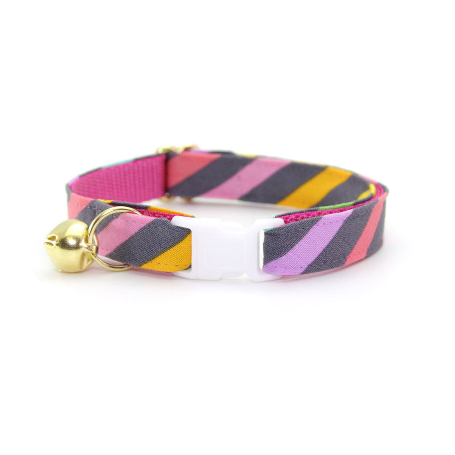 "Cat Collar - ""Rainbow Sorbet"" - Retro 80s Pastel Stripe Cat Collar - Breakaway Buckle or Non-Breakaway / Cat, Kitten + Small Dog Sizes"