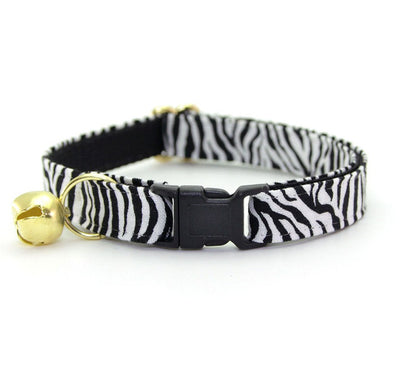 "Cat Collar - ""Wild Thing"" - Zebra Stripes Cat Collar / Safari Animal Print - Breakaway Buckle or Non-Breakaway / Cat, Kitten + Small Dog Sizes"