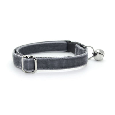 "Velvet Cat Collar - ""Storm Gray"" - Dark Grey Velvet - Breakaway Buckle or Non-Breakaway / Cat, Kitten + Small Dog Sizes"