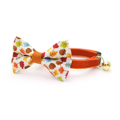 "Pet Bow Tie - ""Autumn Leaves"" - Fall Leaves & Acorns Bowtie / Thanksgiving / For Cats + Small Dogs / Removable (One Size)"