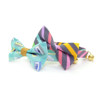 "Pet Bow Tie - ""Rainbow Sorbet"" - Retro Pastel Stripe Bowtie / For Cats + Small Dogs / Removable (One Size)"