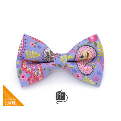 "Pet Bow Tie - ""Paisley Girl"" - Periwinkle Purple & Pink Floral Bowtie / For Cats + Small Dogs / Removable (One Size)"
