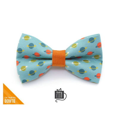 "Pet Bow Tie - ""Orbital"" - Space / Saturn Rings on Aqua Blue Bowtie / Astronomy / For Cats + Small Dogs / Removable (One Size)"