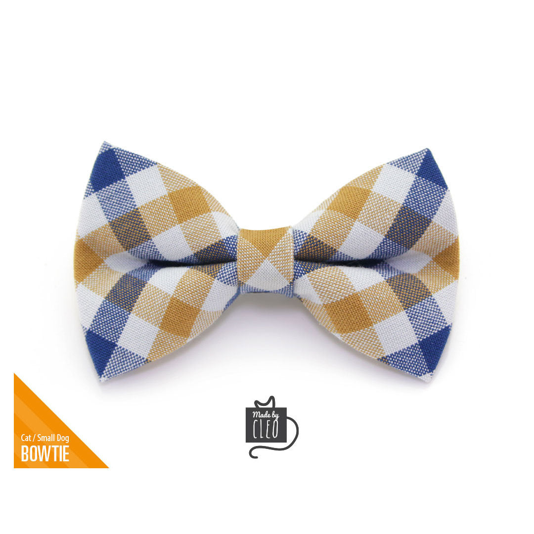 REESE Burnt orange checkered gingham dog bow tie Classy stylish pet accessories Dog cat bowtie