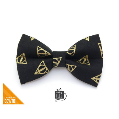 "Pet Bow Tie - ""Deathly Hallows"" - Harry Potter-Inspired Bowtie / Hogwarts / Wizard / For Cats + Small Dogs / Removable (One Size)"