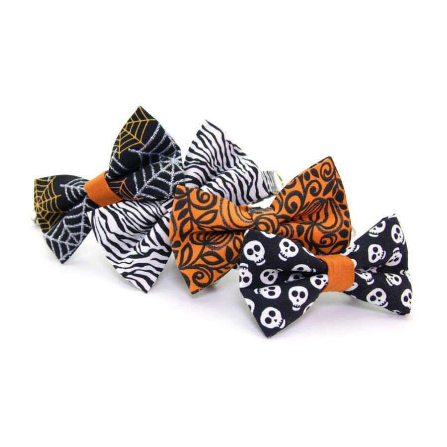 "Pet Bow Tie - ""Skeleton Dance"" - Glow-in-the-Dark Skulls on Black Bowtie / Halloween / For Cats + Small Dogs / Removable (One Size)"