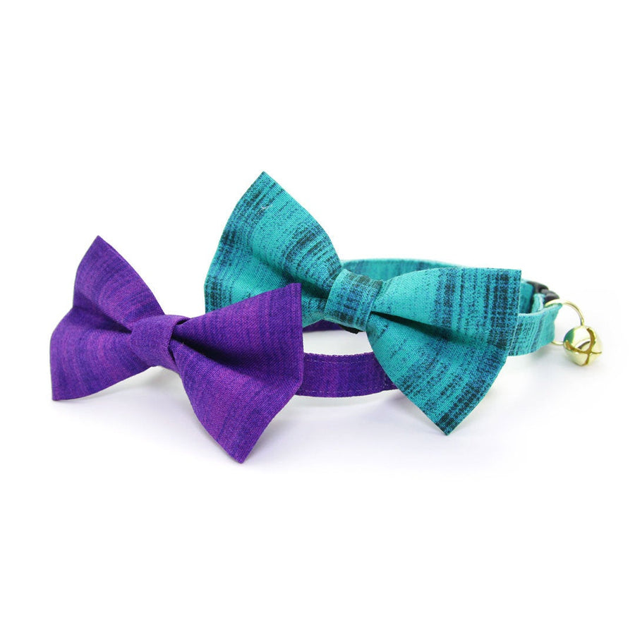"Pet Bow Tie - ""Vintage Haze - Turquoise"" - Vibrant Teal Textured Bowtie / For Cats + Small Dogs / Removable (One Size)"