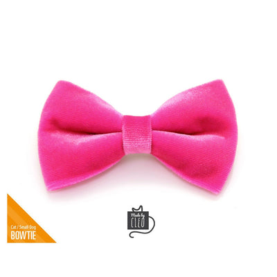"Velvet Pet Bow Tie - ""Azalea"" - Magenta Pink Velvet Bowtie / Wedding / For Cats + Small Dogs / Removable (One Size)"