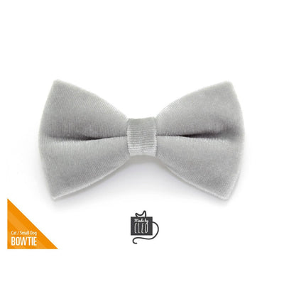 "Velvet Pet Bow Tie - ""Pale Gray"" - Light Grey Velvet Bowtie / Wedding / For Cats + Small Dogs / Removable (One Size)"