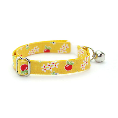 "Cat Collar + Flower Set - ""Apple Orchard"" - Yellow Floral Cat Collar w/ Scarlet Red Felt Flower (Detachable)"