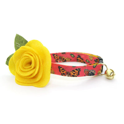 "Cat Collar + Flower Set - ""Butterflies"" - Hibiscus Red Butterfly Cat Collar w/ Buttercup Yellow Felt Flower  (Detachable)"
