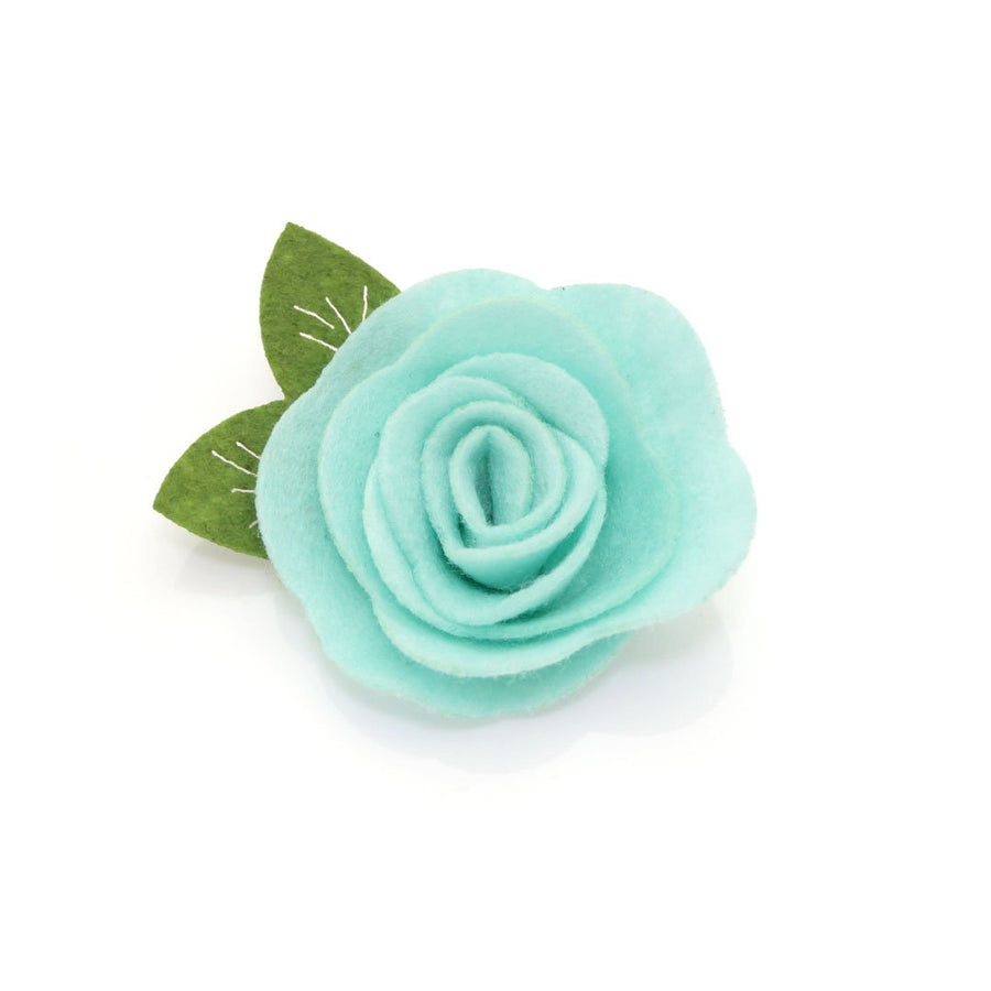 "Velvet Cat Collar + Flower Set - ""Ocean Teal"" - Deep Blue Green Cat Collar w/ Mint Felt Flower (Detachable)"