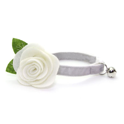 "Velvet Cat Collar + Flower Set - ""Pale Gray"" - Light Grey Velvet Cat Collar w/ Ivory Felt Flower (Detachable)"