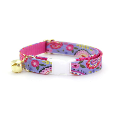 "Cat Collar + Flower Set - ""Paisley Girl"" - Periwinkle Purple Floral Cat Collar w/ Baby Pink Felt Flower (Detachable)"