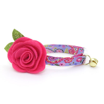 "Cat Collar + Flower Set - ""Paisley Girl"" - Periwinkle Purple Floral Cat Collar w/ Fuchsia Felt Flower (Detachable)"