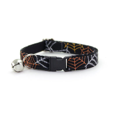 "Cat Collar + Flower Set - ""Spiderwebs"" - Spooky Silver, Orange & Black Cat Collar w/ Orange Felt Flower (Detachable)"
