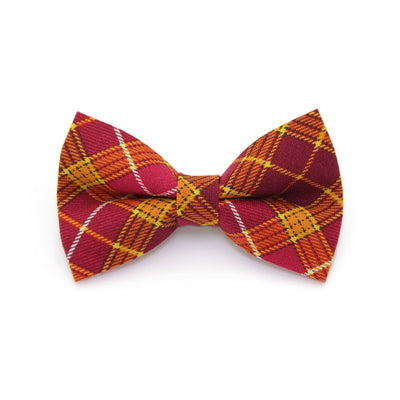 "Bow Tie Cat Collar Set - ""Brandywine"" - Burgundy Plaid Cat Collar w/ Matching Bowtie (Removable)"