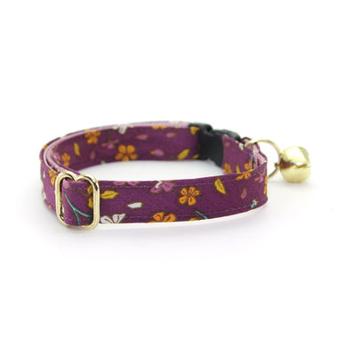 "Bow Tie Cat Collar Set - ""Spiced Plum"" - Wine Purple Floral Cat Collar w/ Matching Bowtie (Removable)"